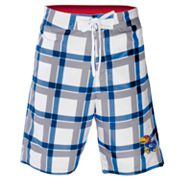 Kansas Jayhawks Plaid Swim Trunks - Men