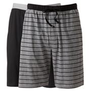 Hanes Classics 2-pk. Striped and Solid Knit Lounge Shorts