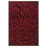 Linon Home Decor Milan Garnet Floral Rug