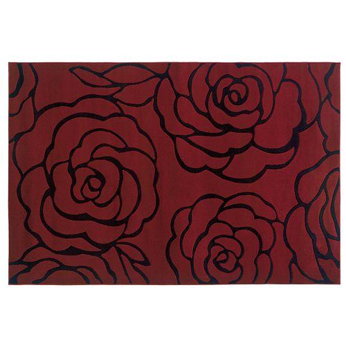 Linon Milan Garnet Floral Rug - 8' x 10'3''
