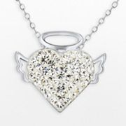 Silver Plate Crystal Angel Heart Pendant
