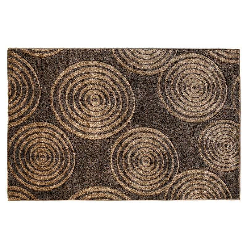 Linon Milan Circle Rug, Brown, 2X3 Ft Decorate any area with this Linon rug.Features 1'10 x 2'10 Power loomed Circlepattern Construction & Care Polypropylene Action backing Professional clean Imported Manufacturer's 6-month limited warrantyFor warranty information please click here Attention: All rug sizes are approximate and should measure within 2-6 inches of stated size. Pattern may also vary slightly. This rug does not have slip-resistant backing. Rug pad recommended to prevent slipping on smooth surfaces.  Size: 2X3 Ft. Color: Brown. Gender: unisex. Age Group: adult. Material: Synthetic.