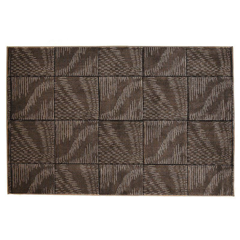 Linon Milan Square Rug, Brown, 8X10 Ft Complete your decor with this Linonrug. The square pattern gives this rug wonderful style.Features 5' x 7'7 Power loomed Squarepattern Construction & Care Polypropylene Action backing Professional clean Imported Manufacturer's 6-month limited warrantyFor warranty information please click here Attention: All rug sizes are approximate and should measure within 2-6 inches of stated size. Pattern may also vary slightly. This rug does not have slip-resistant backing. Rug pad recommended to prevent slipping on smooth surfaces.  Size: 8X10 Ft. Color: Brown. Gender: unisex. Age Group: adult. Material: Synthetic.