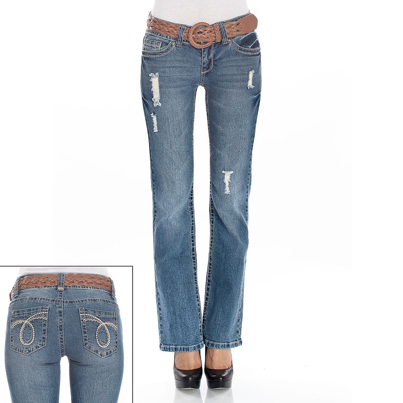 Wallflower Distressed Curvy Bootcut Jeans - Juniors