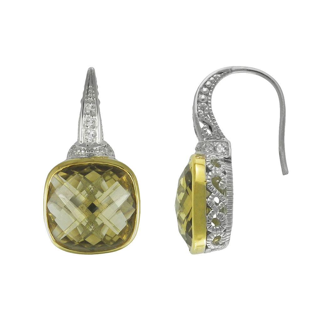 SIRI USA by TJM 14k Gold Over Silver & Sterling Silver Champagne Quartz & Cubic Zirconia Drop Earrings