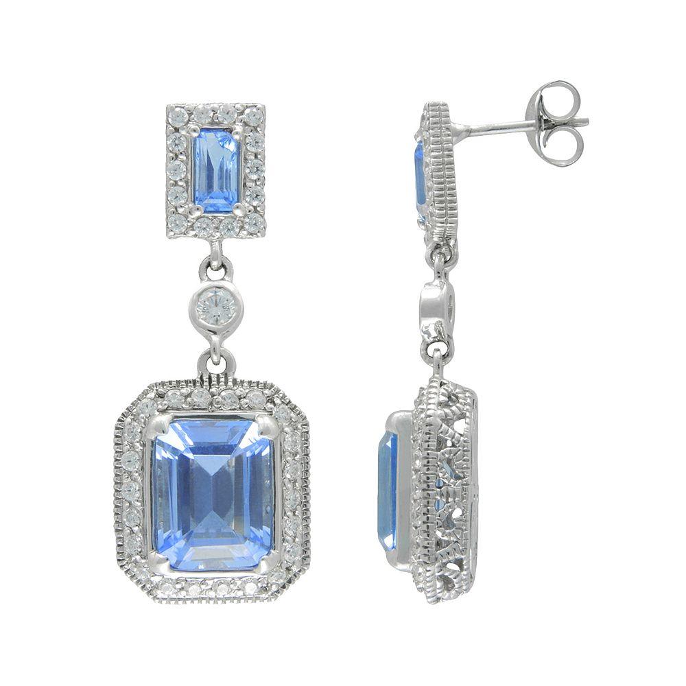 SIRI USA by TJM Sterling Silver Simulated Blue Quartz & Cubic Zirconia Frame Drop Earrings