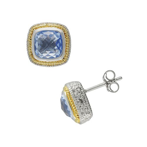 SIRI USA by TJM 14k Gold Over Silver & Sterling Silver Simulated Blue Quartz Square Frame Stud Earrings