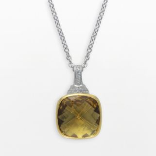 SIRI USA by TJM 14k Gold Over Silver and Sterling Silver Champagne Quartz and Cubic Zirconia Pendant
