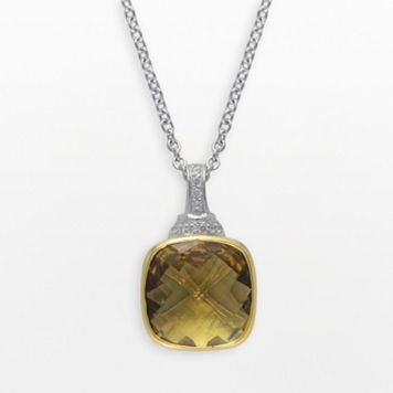 SIRI USA by TJM 14k Gold Over Silver & Sterling Silver Champagne Quartz & Cubic Zirconia Pendant