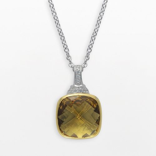 SIRI USA by TJM 14k Gold Over Silver & Sterling Silver Champagne Quartz & Cubic Zirconia Pendant