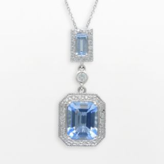 SIRI USA by TJM Sterling Silver Simulated Blue Quartz and Cubic Zirconia Frame Pendant