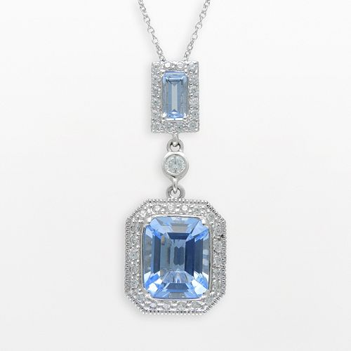 SIRI USA by TJM Sterling Silver Simulated Blue Quartz & Cubic Zirconia Frame Pendant