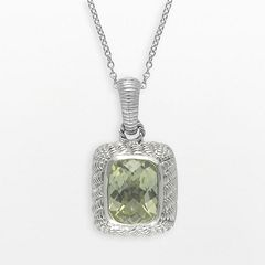 SIRI USA by TJM Sterling Silver Lemon Quartz & Cubic Zirconia Textured Rectangle Frame Pendant