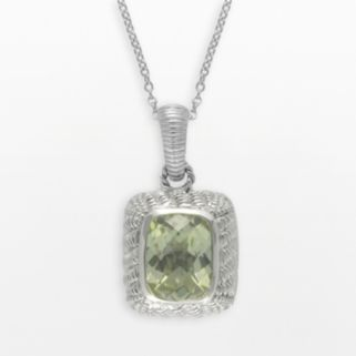 SIRI USA by TJM Sterling Silver Lemon Quartz and Cubic Zirconia Textured Rectangle Frame Pendant