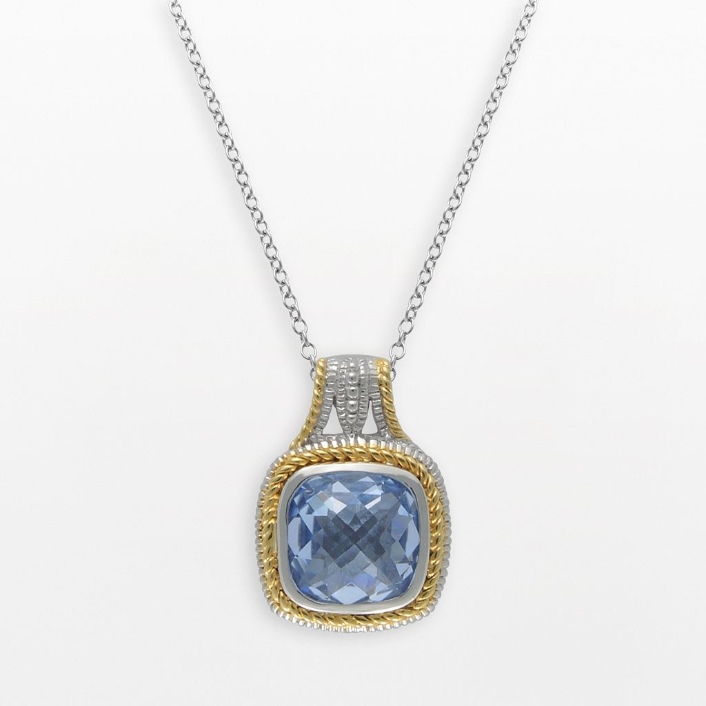 SIRI USA by TJM 14k Gold Over Silver & Sterling Silver Simulated Blue Quartz Square Frame Pendant