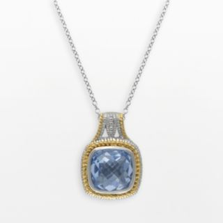 SIRI USA by TJM 14k Gold Over Silver and Sterling Silver Simulated Blue Quartz Square Frame Pendant