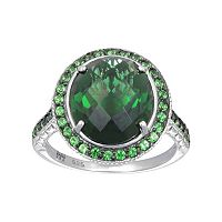SIRI USA by TJM Sterling Silver Simulated Green Quartz & Green Cubic Zirconia Oval Frame Ring
