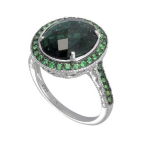 SIRI USA by TJM Sterling Silver Simulated Green Quartz and Green Cubic Zirconia Oval Frame Ring