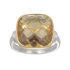 SIRI USA by TJM 14k Gold Over Silver & Sterling Silver Champagne Quartz & Cubic Zirconia Ring