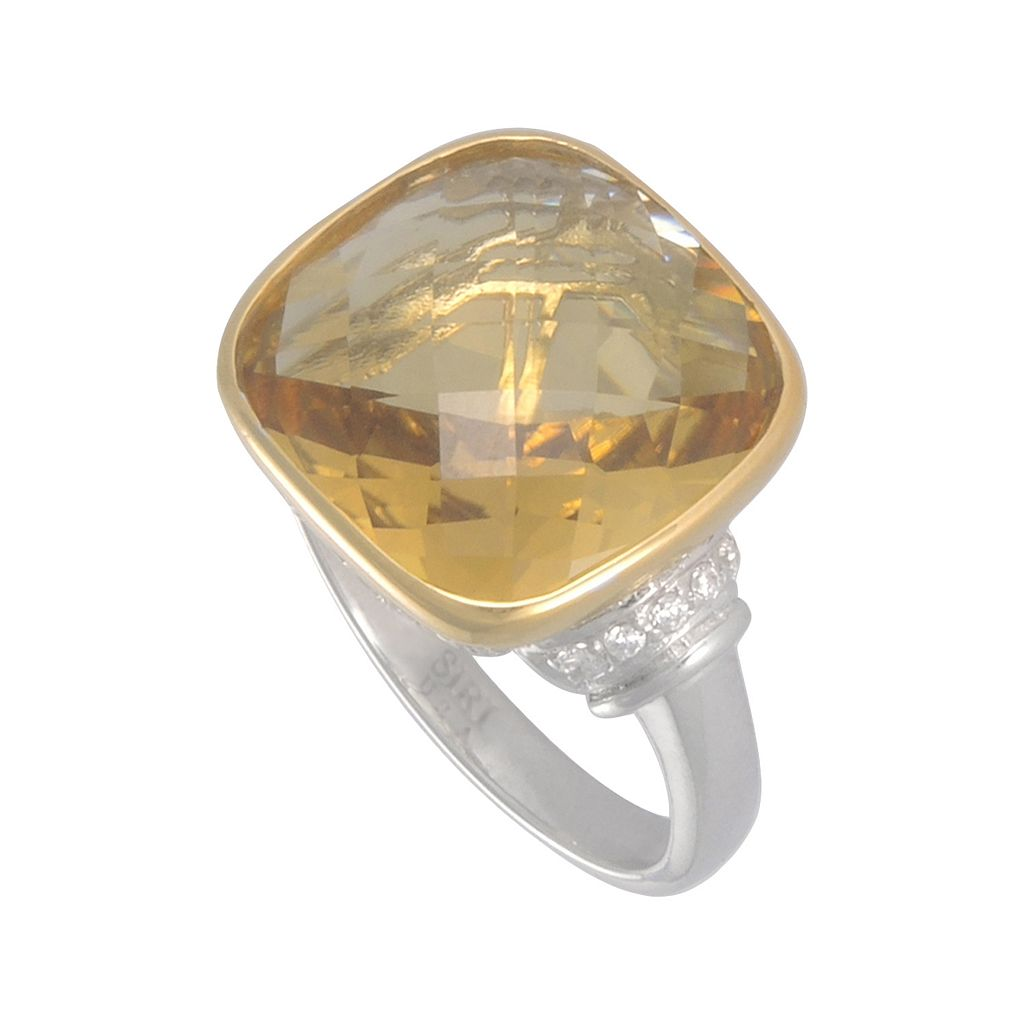 SIRI USA by TJM 14k Gold Over Silver and Sterling Silver Champagne Quartz and Cubic Zirconia Ring