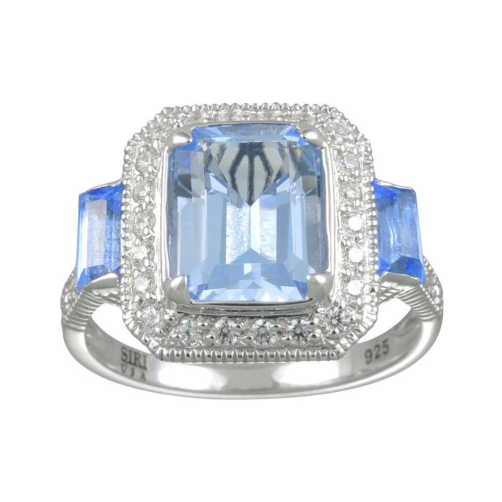 SIRI USA by TJM Sterling Silver Simulated Blue Quartz & Cubic Zirconia Frame Ring