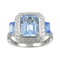 SIRI USA by TJM Sterling Silver Simulated Blue Quartz & Cubic Zirconia Frame Ring