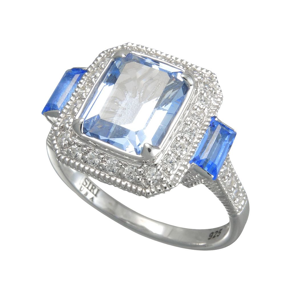 SIRI USA by TJM Sterling Silver Simulated Blue Quartz and Cubic Zirconia Frame Ring