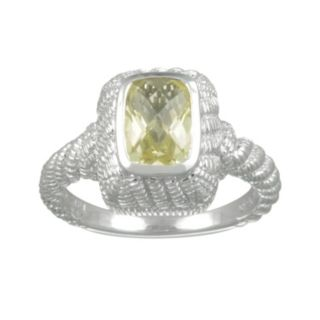 SIRI USA by TJM Sterling Silver Lemon Quartz and Cubic Zirconia Textured Rectangle Frame Ring