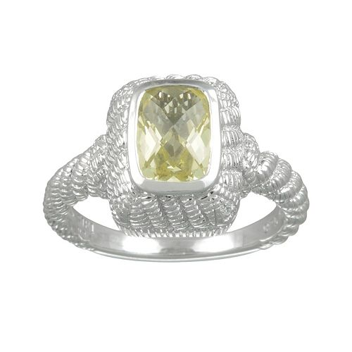 SIRI USA by TJM Sterling Silver Lemon Quartz & Cubic Zirconia Textured Rectangle Frame Ring