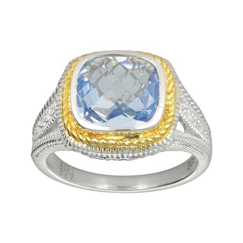 SIRI USA by TJM 14k Gold Over Silver & Sterling Silver Simulated Blue Quartz & Cubic Zirconia Square Frame Ring