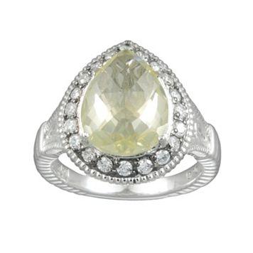 SIRI USA by TJM Sterling Silver Lemon Quartz & Cubic Zirconia Teardrop Frame Ring