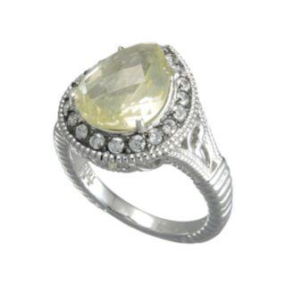 SIRI USA by TJM Sterling Silver Lemon Quartz and Cubic Zirconia Teardrop Frame Ring