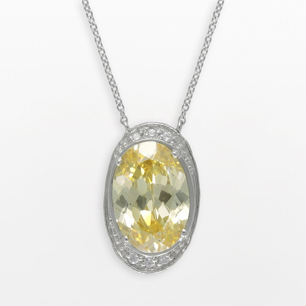 SIRI USA by TJM Sterling Silver Canary & White Cubic Zirconia Oval Frame Pendant