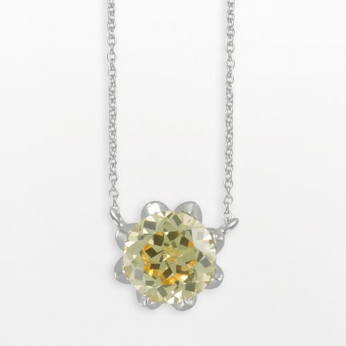 SIRI USA by TJM Sterling Silver Canary & White Cubic Zirconia Necklace