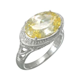 SIRI USA by TJM Sterling Silver Canary and White Cubic Zirconia Oval Frame Ring
