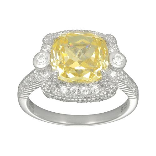 SIRI USA by TJM Sterling Silver Canary & White Cubic Zirconia Square Frame Ring