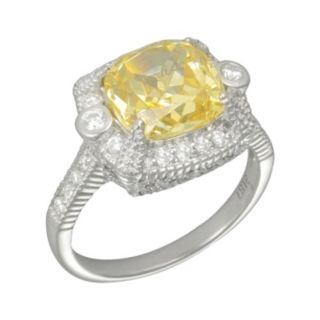 SIRI USA by TJM Sterling Silver Canary and White Cubic Zirconia Square Frame Ring