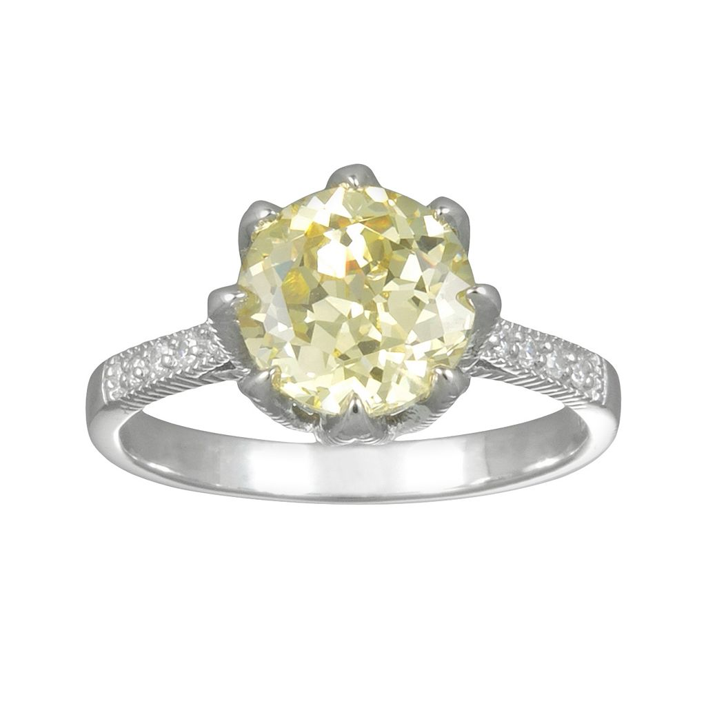 SIRI USA by TJM Sterling Silver Canary & White Cubic Zirconia Ring