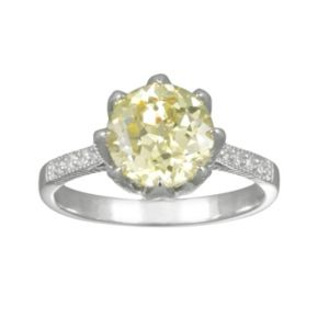 SIRI USA by TJM Sterling Silver Canary and White Cubic Zirconia Ring