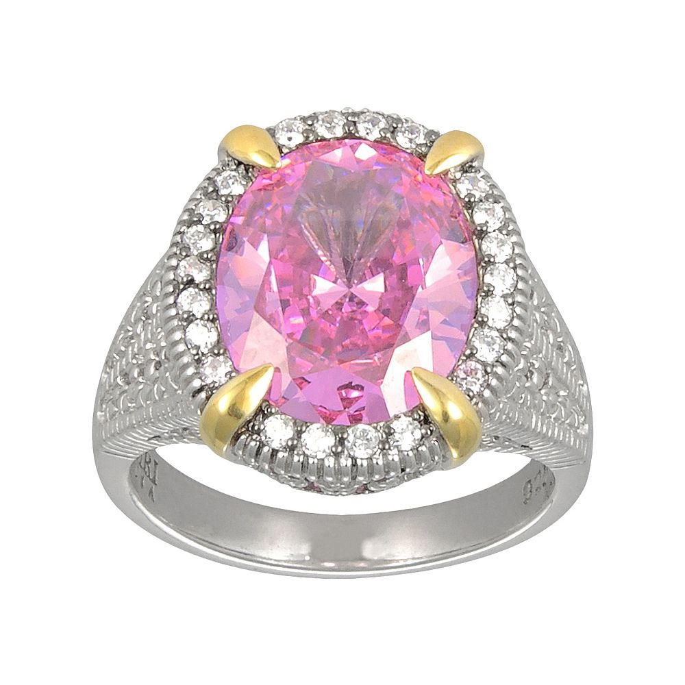 SIRI USA by TJM 14k Gold Over Silver & Sterling Silver Pink & White Cubic Zirconia Oval Frame Ring