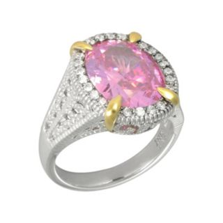SIRI USA by TJM 14k Gold Over Silver and Sterling Silver Pink and White Cubic Zirconia Oval Frame Ring