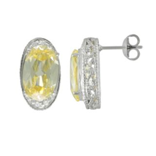 SIRI USA by TJM Sterling Silver Canary and White Cubic Zirconia Oval Frame Stud Earrings