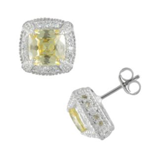 SIRI USA by TJM Sterling Silver Canary and White Cubic Zirconia Square Frame Stud Earrings
