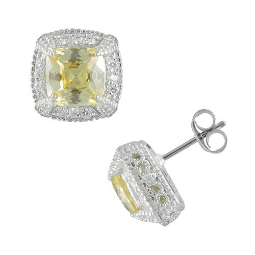 SIRI USA by TJM Sterling Silver Canary & White Cubic Zirconia Square Frame Stud Earrings