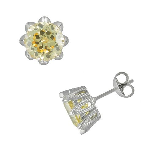 SIRI USA by TJM Sterling Silver Canary & White Cubic Zirconia Stud Earrings