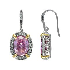 SIRI USA by TJM 14k Gold Over Silver & Sterling Silver Pink & White Cubic Zirconia Oval Frame Drop Earrings