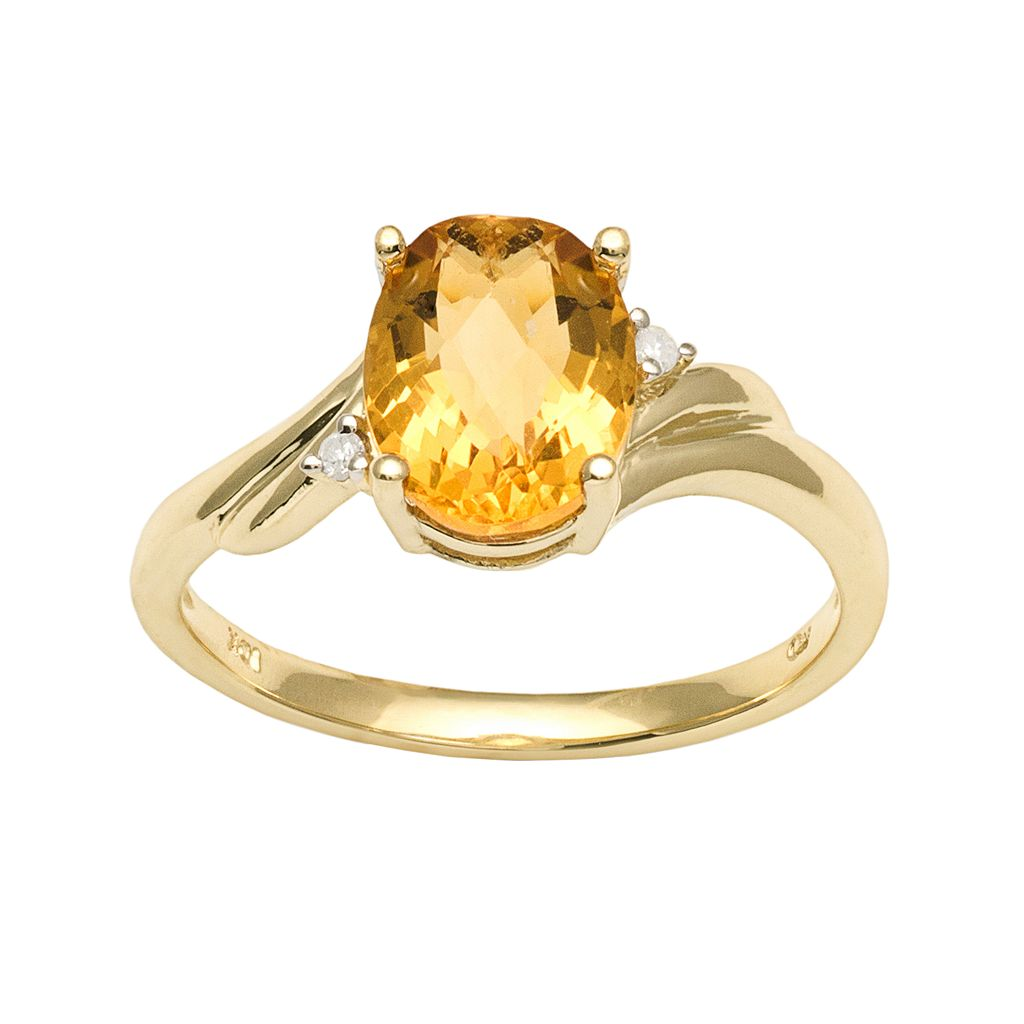 10k Gold Citrine & Diamond Accent Ring