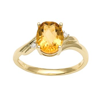 10k Gold Citrine & Diamond Accent Ring