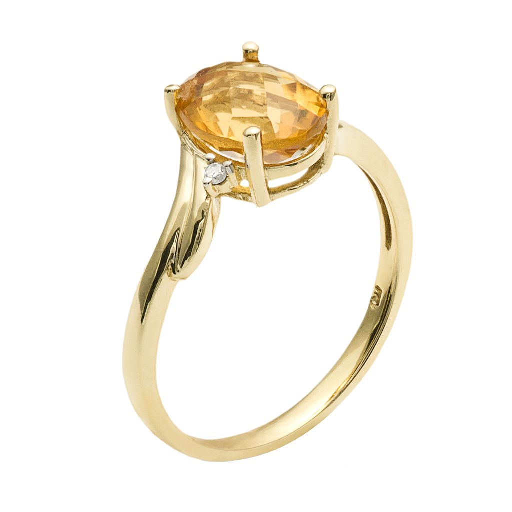 10k Gold Citrine and Diamond Accent Ring