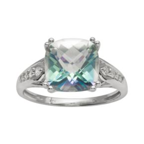 10k White Gold 1/10-ct. T.W. Diamond and Cassiopeia Topaz Ring